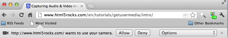 camera permission dialog in Chrome
